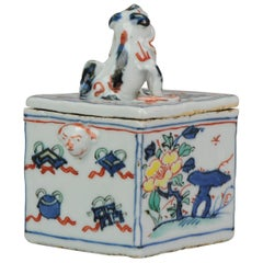 Antique Ko Akae Incense Container Chinese Porcelain Wucai 17th C Box Tianqi