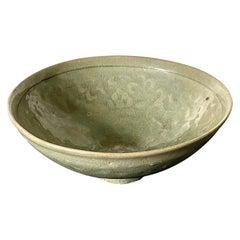 Antique Korean Ceramic Bowl with Incised Design