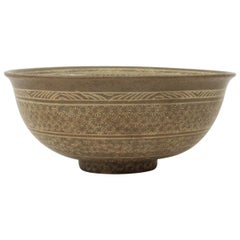 Antique Korean Joseon Dynasty Buncheon Ware Foliage Rimmed Bowl
