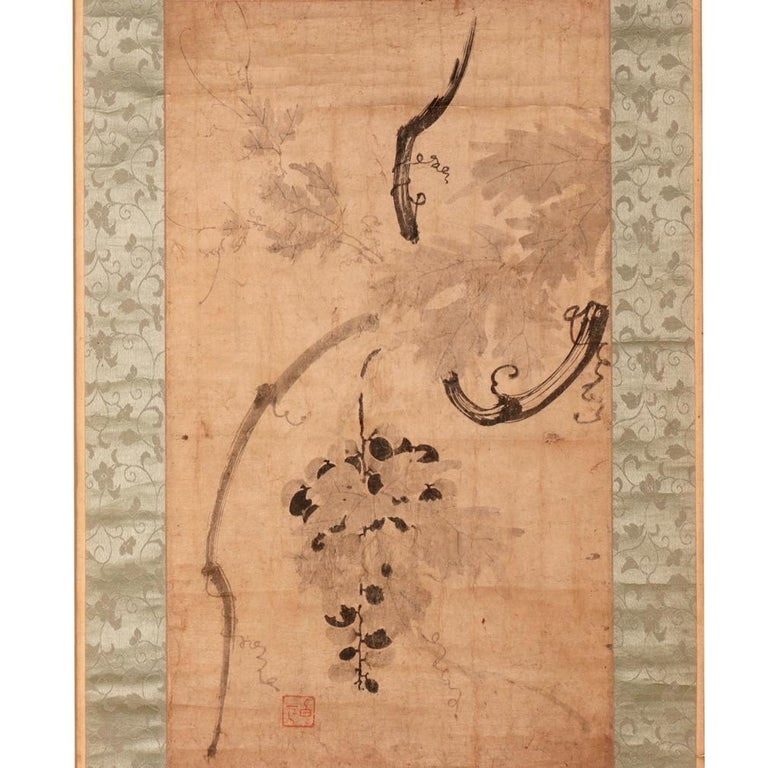 Antique Korean literati ink painting on paper of Grapevine, unidentified artist, hanging scroll mounting. Grapevine in Korea is a symbolic reference to a wish for an endless line of descendants. This painting is expertly painted showing the varied