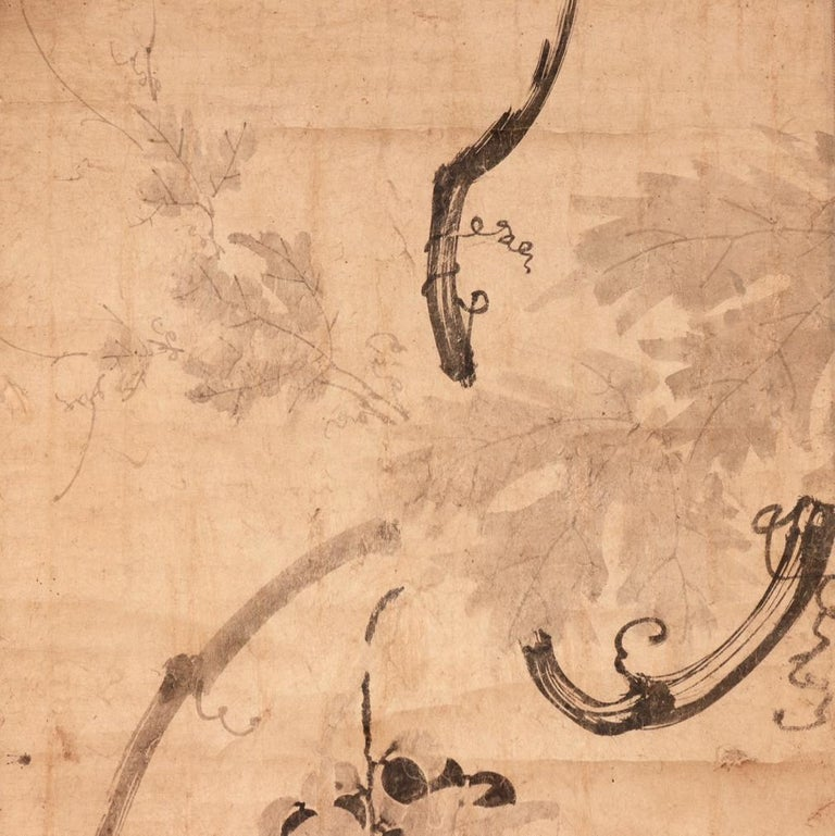 Hand-Painted Antique Korean Literati Ink Painting on Paper of Grapevine