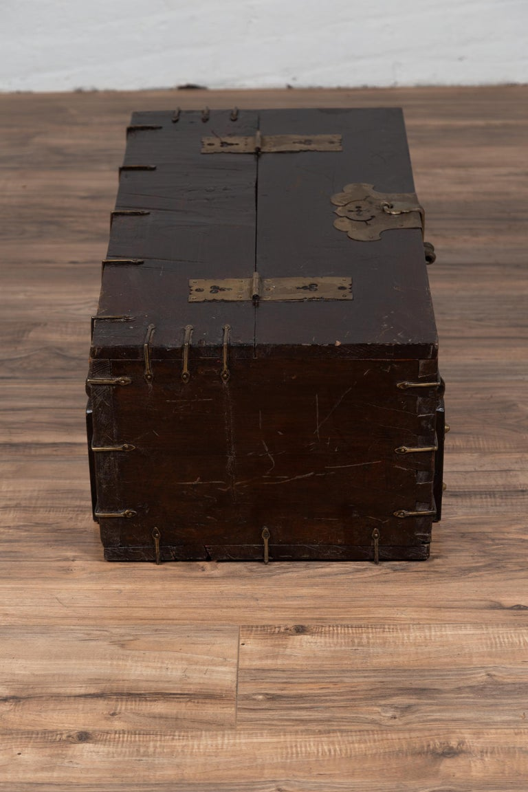 Antique Korean Small Wooden Chest with Cut Brass Hardware and Folding Top For Sale 6