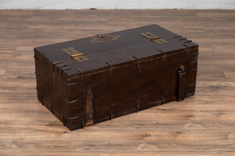Antique Korean Small Wooden Chest with Cut Brass Hardware and Folding Top For Sale 8