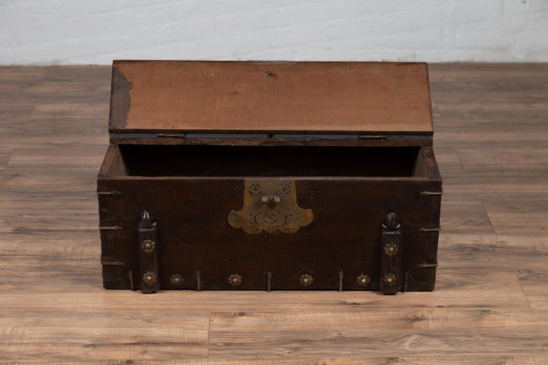 Antique Korean Small Wooden Chest with Cut Brass Hardware and Folding Top For Sale 9