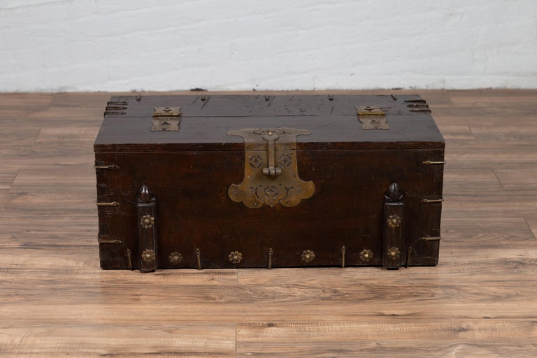 Antique Korean Small Wooden Chest with Cut Brass Hardware and Folding Top In Good Condition For Sale In Yonkers, NY