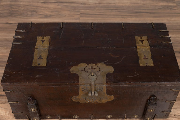 20th Century Antique Korean Small Wooden Chest with Cut Brass Hardware and Folding Top For Sale