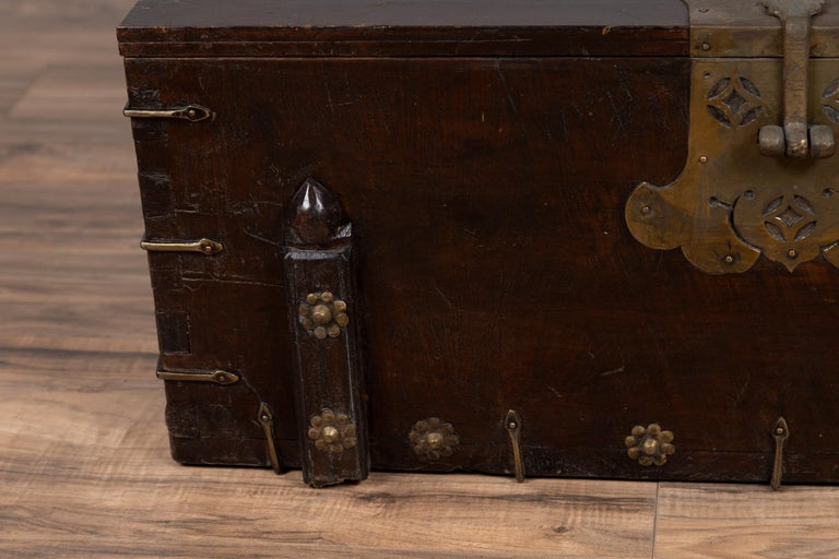 Antique Korean Small Wooden Chest with Cut Brass Hardware and Folding Top For Sale 2