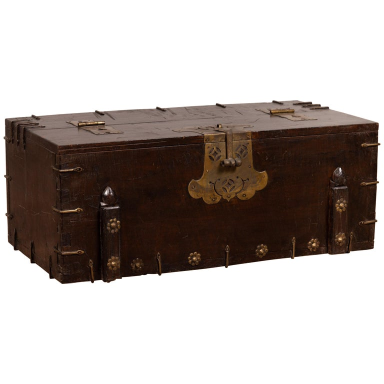 Antique Korean Small Wooden Chest with Cut Brass Hardware and Folding Top For Sale