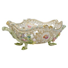 Antique KPM Royal Berlin Porcelain Flower Encrusted Reticulated Fruit Basket