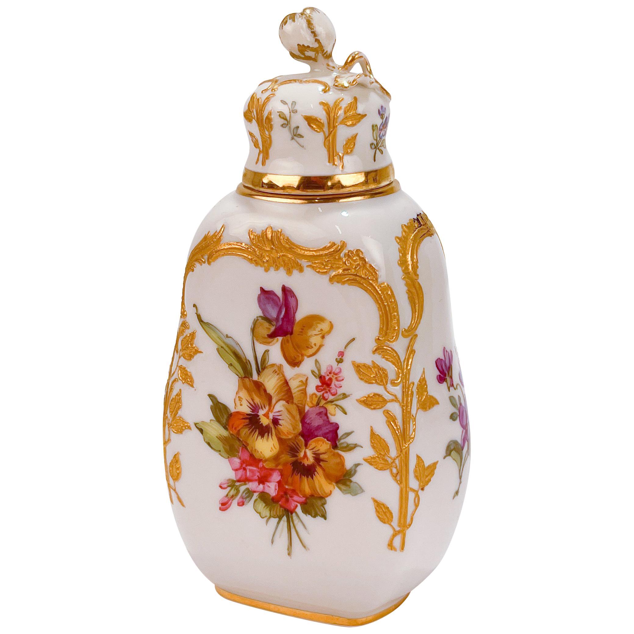 Antique KPM Royal Berlin Neuzierat Porcelain Tea Caddy or Dresser Bottle