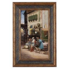 Antique KPM Style Porcelain Plaque of Orientalist Bazaar Scene