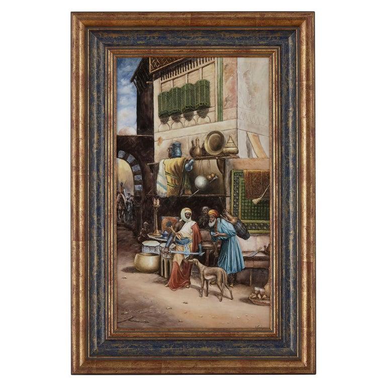 KPM Style Porcelain Plaque of Orientalist Bazaar Scene For Sale