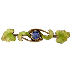 Antique Krementz 14 Karat Gold, Enamel and Sapphire Leaf and Vine Brooch or Pin
