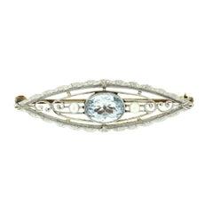 Antique Krementz Art Nouveau 14k Gold 1.25ct Aquamarine & Pearl Open Brooch Pin