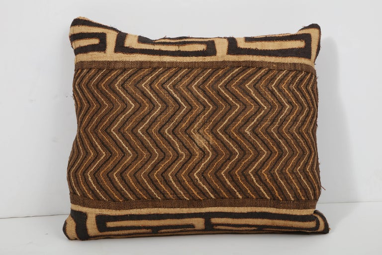 Mid-20th Century Antique Kuba Cloth Pillow For Sale