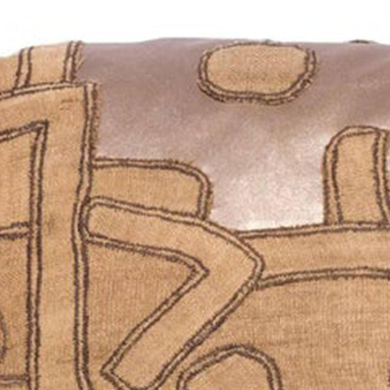 American Antique Kuba Cloth with Gold Leather Inserts Pillow For Sale