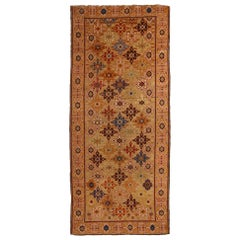Antique Kuba Geometric Beige and Golden-Yellow Wool Runner