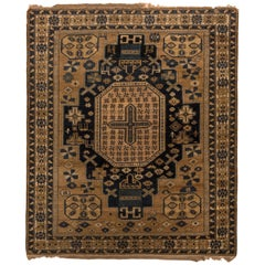 Antique Kuba Rug Beige-Brown Gold and Blue Medallion Style Pattern