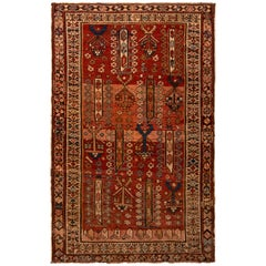 Antique Kuba Rug Beige Red Boteh Floral Tribal Patterns with Pink Accent