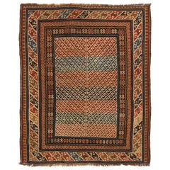 Antique Kuba Traditional Red and Beige Wool Rug