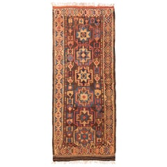 Antique Kurdish Beige and Red Persian Wool Rug with Star Motifs