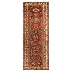 Antique Kurdish Geometric Beige and Red Wool Persian Runner