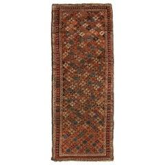 Antique Kurdish Orange and Beige Wool Persian Runner