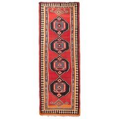 Antique Kurdish Persian Red and Black Wool Kilim