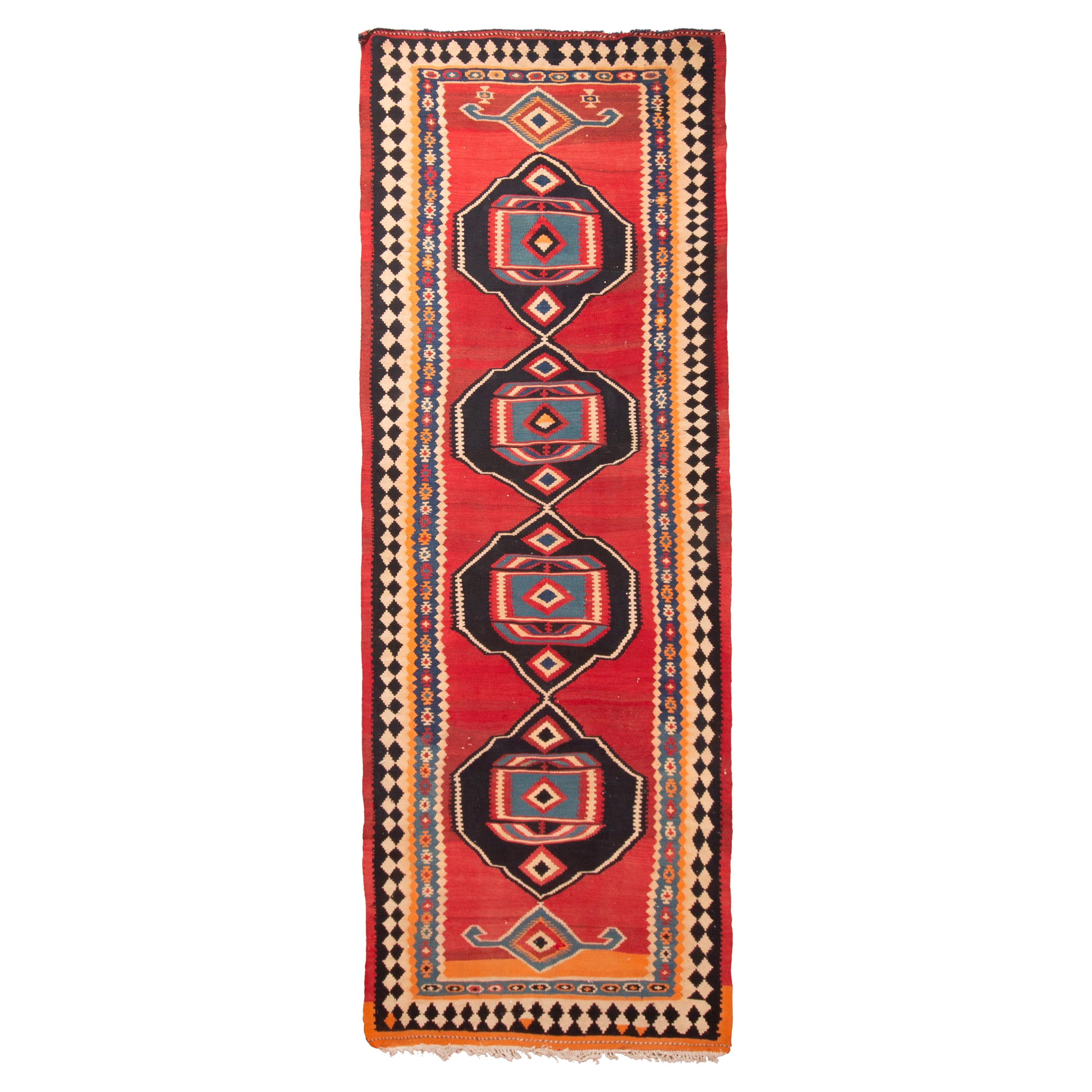 Antique Kurdish Persian Red and Black Wool Rug with Geometric Pattern