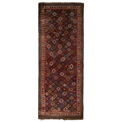 Antique Kurdish Rug Red and Blue Persian Tribal Pattern