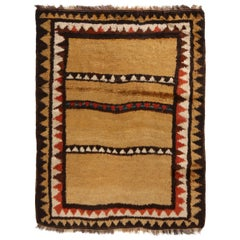 Antique Kurdish Transitional Geometric Copper Brown and Red Wool Rug