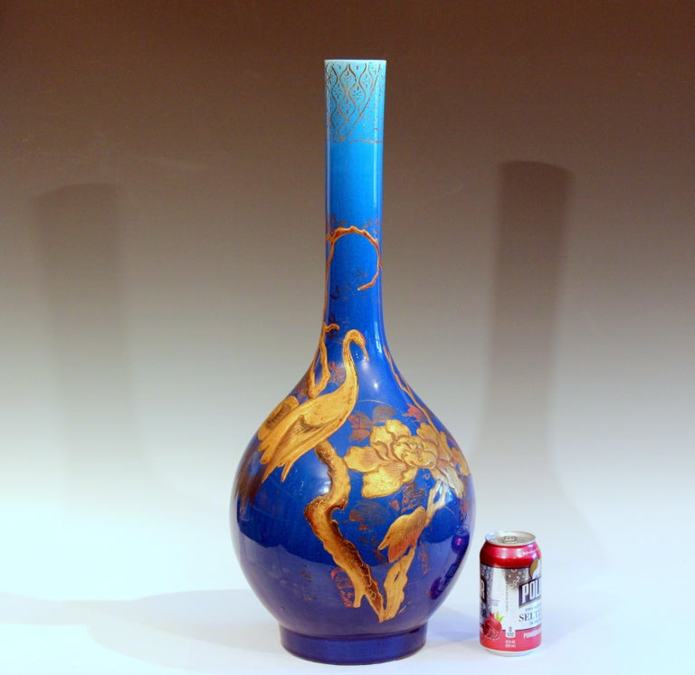 Antique Kyoto-Awaji Japanese Pottery Bottle Vase with Lacquer Decoration For Sale 2
