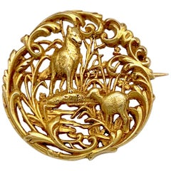 """Antique Maison Menu G. Doré La Fontaine Fable """"The Wolf and the Lamb"""" 18KT Gold"""