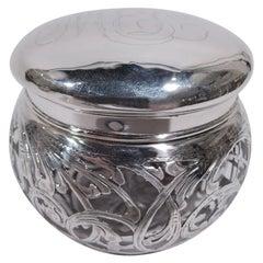 Antique La Pierre Art Nouveau Silver Overlay Vanity Jar