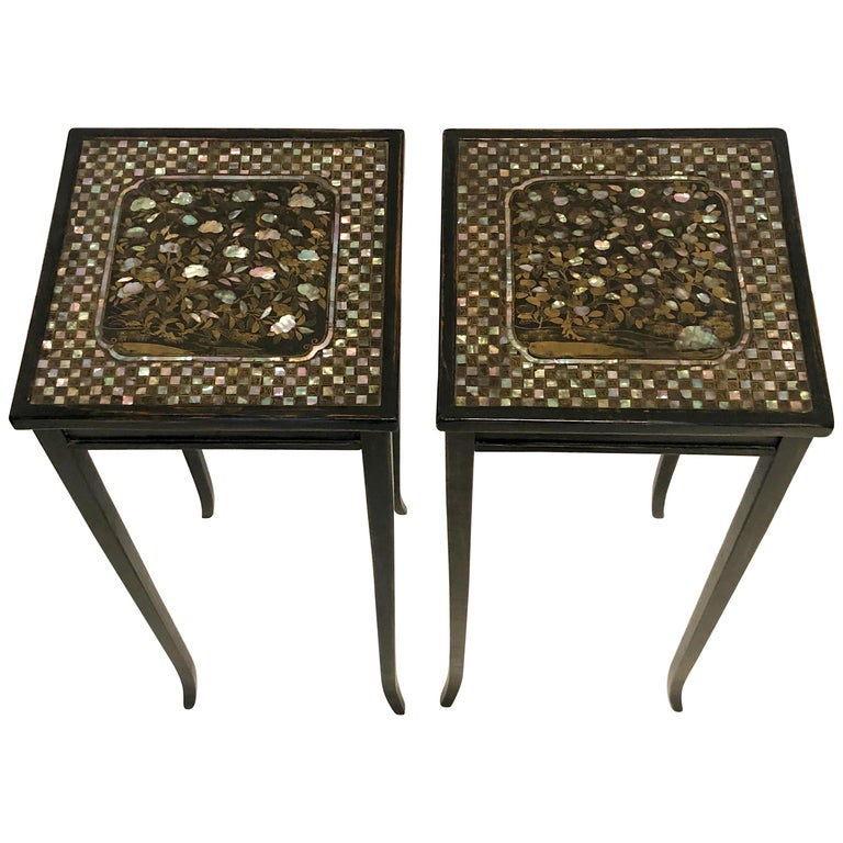 Antique Lacquer Mother of Pearl Apple Peach Tree Side Pair of Tables For Sale