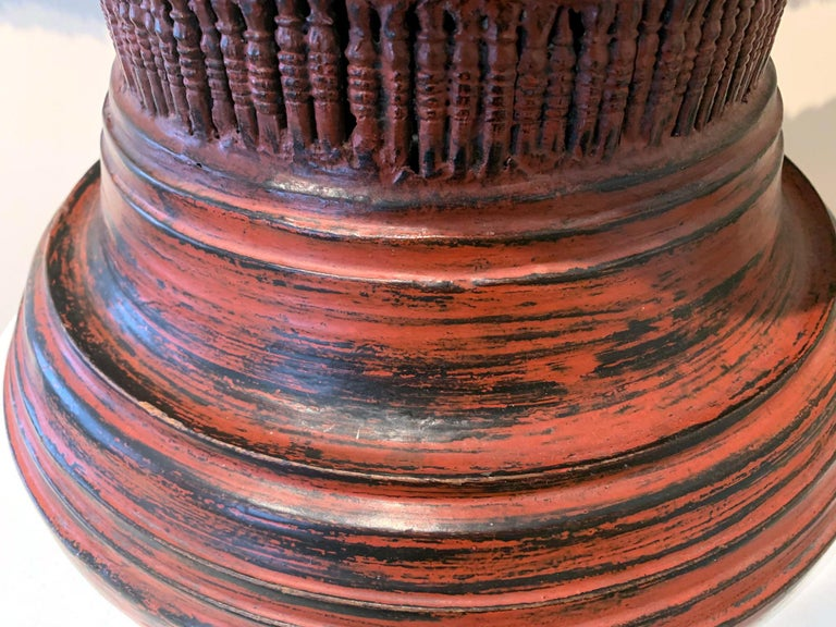 Wood Antique Lacquer Offering Elm Bowl Southeast Asia For Sale