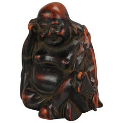 Antique Lacquer or Ceramic Netsuke Hotei with Fan 19th Century, Japanese, Japan