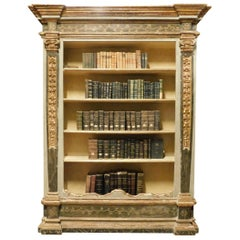 Antique Lacquered and Gilded Bookcase, 18th Century, Italy