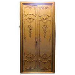 Antique Lacquered and Gilded Double Door with Frame, 19th Century, Milan 'Italy'