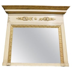 Antique Lacquered and Gilded Fireplace Mirror with Friezes and Hat, 1800, Italy