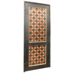 Antique Lacquered and Painted Door Complete with Frame, 20th Century, Italy