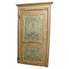 Antique Lacquered and Painted Door, with Original 18th Century Frame, Italy