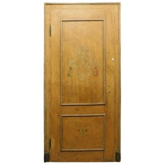 Antique Lacquered and Painted Door, Yellow with Frame, 19th Century, Italy