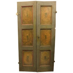 Antique Lacquered Double Door, 19th Century, Italy