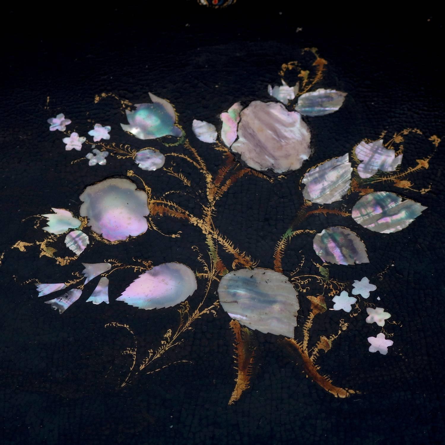 Antique Lacquered Hand Painted And Mother Of Pearl Inlaid Paper