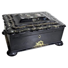 Antique Lacquered Paper Mache Sewing or Jewelry Box with Inlaid Carved Shell