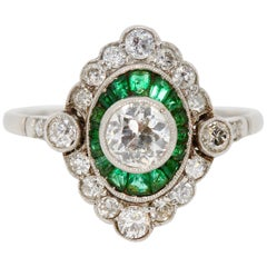 Antique Ladies Art Deco Style Gold Ring with Diamonds and Emeralds