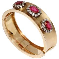 Antique Ladies Bangle, Bracelet, with Big Rubies and Diamonds, 14 Karat Gold