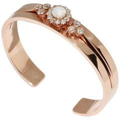 Antique Ladies Bangle with Precious Opal and Diamonds, 14 Karat Rose Gold