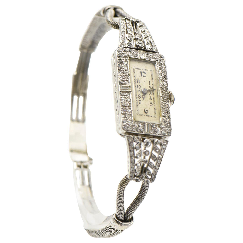 Antique Ladies Elongated Diamond Platinum and Gold Wrist Watch